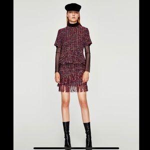 Zara Skirts - Set ZARA Tweed Peplum Top& Mini Skirt Size S